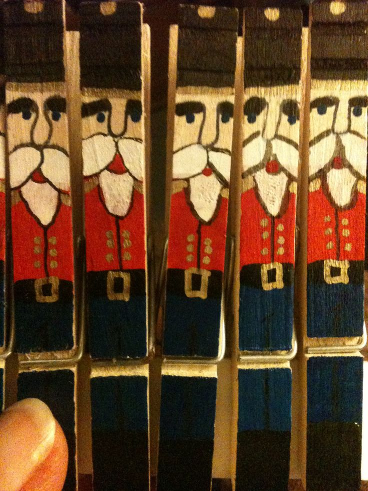 Nutcracker clothes pin ornaments set of 5 by JCBDesignStudio, $5.00
