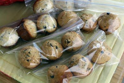 Whip up a batch of mini-muffins, put them in snack-size ziplocs and freeze! Then pull them out, one bag at a time, to go in lunches.