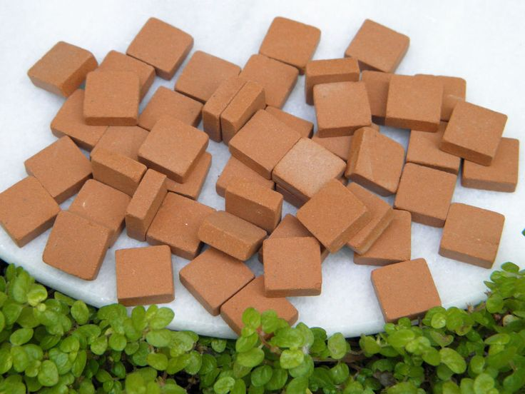 Miniature Dollhouse FAIRY GARDEN Accessories ~ 50 Square Red Patio Bricks ~ NEW