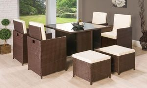 Groupon - Nine-Piece Cube Rattan-Effect Garden Furniture Set in Brown for £279.98 With Free Delivery. Groupon deal price: £279.98