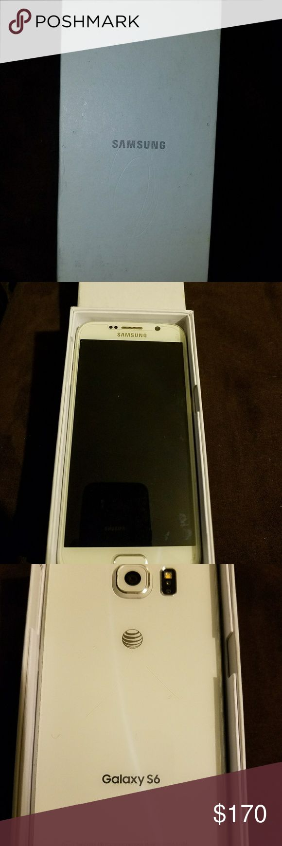 Samsung Galaxy S6 Samsung Galaxy S6 Cell Phone and color is white. It's a brand new phone and with phone is (case, screen protector and charger). I attached receipts....Phone $250, Case $5 and Screen Protector $15....its a total of $270 and asking for $170 for everything. Accessories Phone Cases