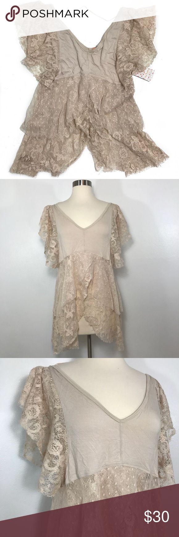 NWT Free People Blouse • Beige tee blouse with lace detailing for the sleeves and lower half of the top. Free People Tops