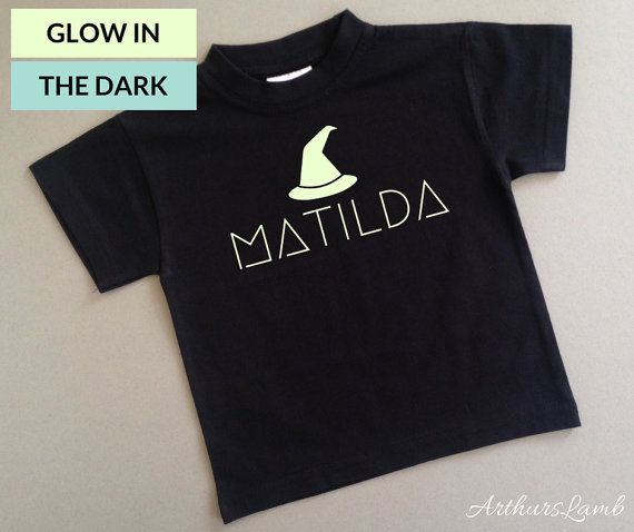 At Halloween little girls love witches, but witchcraft is not just for halloween!! And with this personalised Glow in the Dark Witch Hat t-shirt you are sure to stand out!! So whether you are looking for a first Halloween costume, a Halloween gift or something to wear all year round, this shirt personalised with any name will be a much loved addition!!  When ordering, please note the name required in Comments to Seller box during checkout.  I only use t-shirts made from 100% cotton fabric. I…