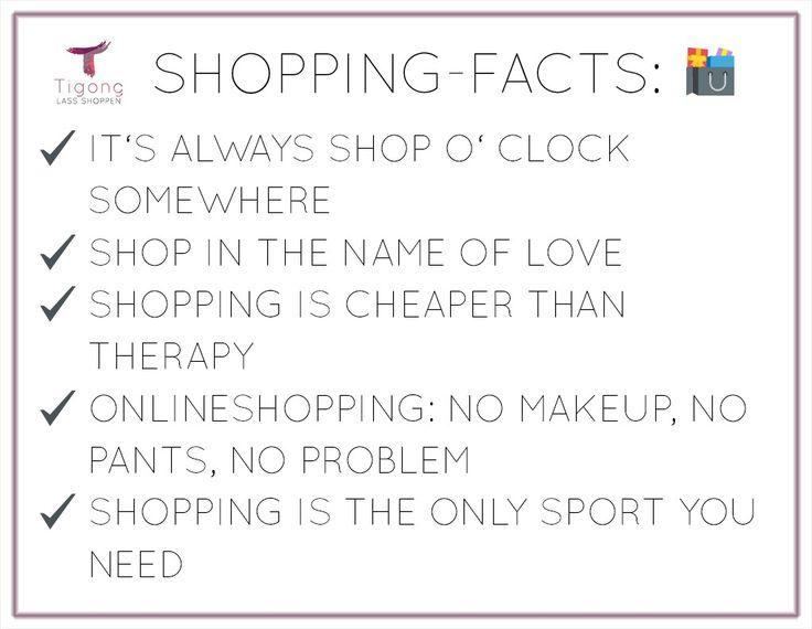 Unsere Shopping-Facts für Euch! Wir von Tigong finden, dass Onlineshopping vom Arzt verschrieben und von der Krankenkasse bezahlt werden sollte!  #shoppingquotes #onlineshopping #shoppingsprüche #shoppingfacts #tigong