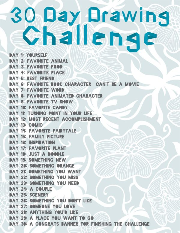 30 Day Drawing Challenge. Can't draw for toffee, but I think I'll give this a go!