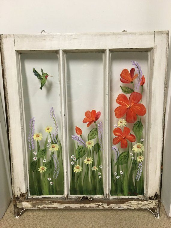 Old Windows Hand Painted Windows Red Hibiscus Hummingbird Shabby Chic Window Decor Window Art Yellow Daisies Floral Window Vintage Window Window Crafts Painting On Glass Windows Hand Painted Windows
