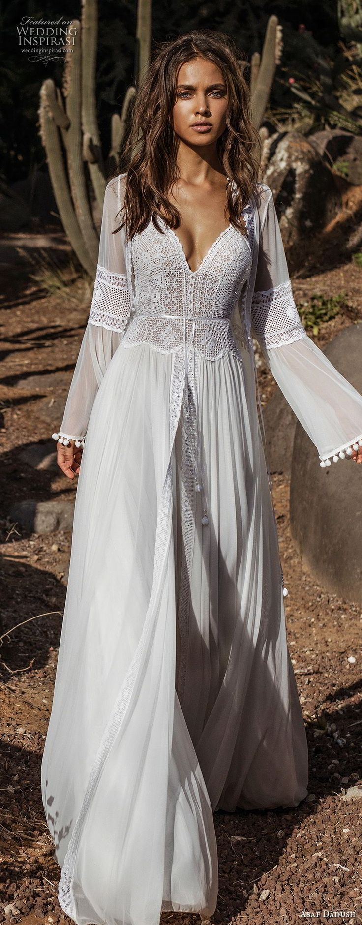 asaf dadush 2018 bridal long lantern sleeves thin strap sweetheart neckline heavily embellished bodice romantic bohemian soft a  line wedding dress sweep train (1) mv lv -- Asaf Dadush 2018 Wedding Dresses