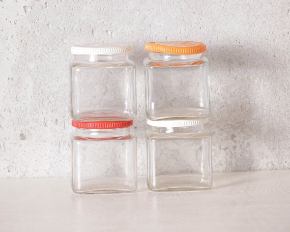 Vintage Clear Glass Vachon Square Jar by LobsterBisqueVintage, $21.00