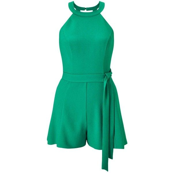 Miss Selfridge PETITE Green 90's Playsuit (1.180 UYU) ❤ liked on Polyvore featuring jumpsuits, rompers, olive, petite, olive green rompers, green rompers, playsuit romper, green romper and miss selfridge
