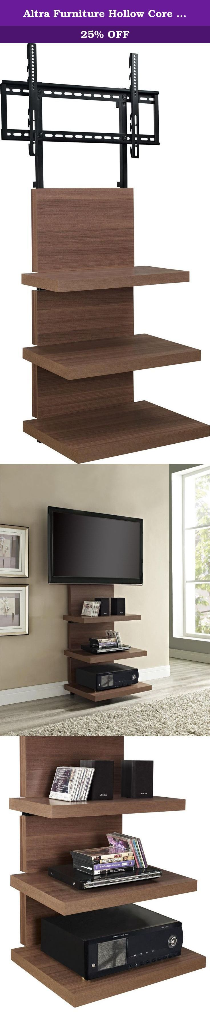 """Altra Furniture Hollow Core AltraMount TV Stand with Mount for TVs Up to 60-Inch, Walnut Finish. Design a sleek new space for your home theater – without the hassle or high cost of renovations and custom shelving. The AltraMount Hollow Core TV Stand offers the look of a custom wall mount for a fraction of the price. More than just a TV stand, this smart unit includes a TV mount that holds up to a 60"""" flat-screen TV. Below the mount, there are three shelves – each 2-Inch thick – to store a..."""