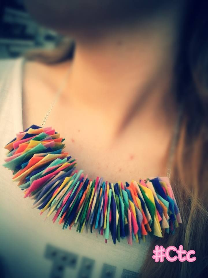 colourful necklace made of felt pieces...7$ #ctc #collection #necklace #felt