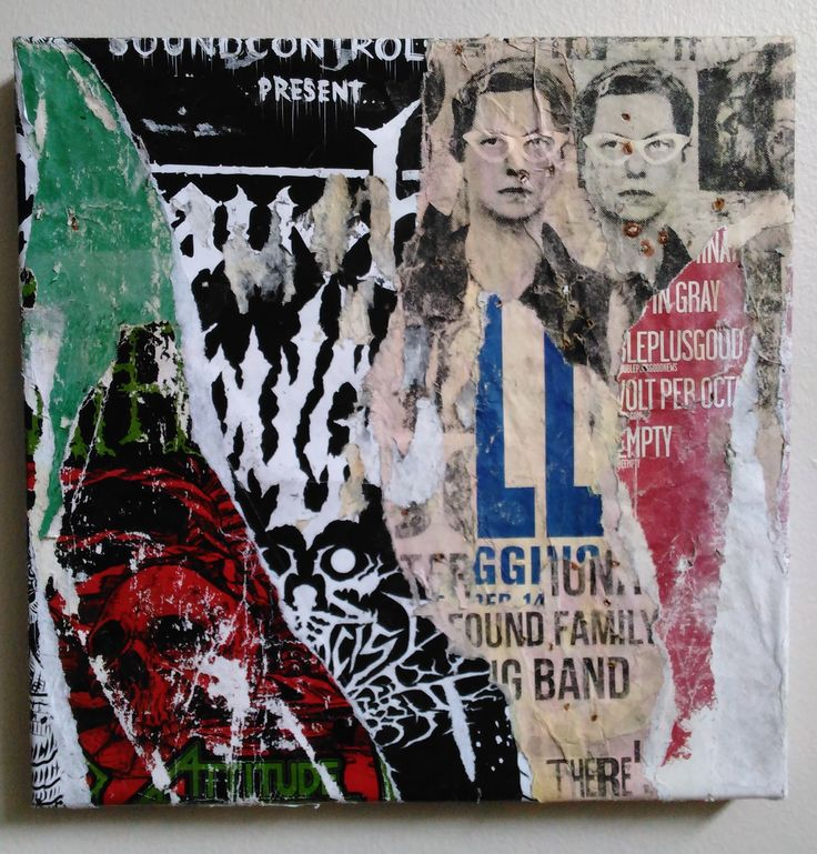 'The Twins' 2016 Decollage on canvas. Jeremy Grothaus.