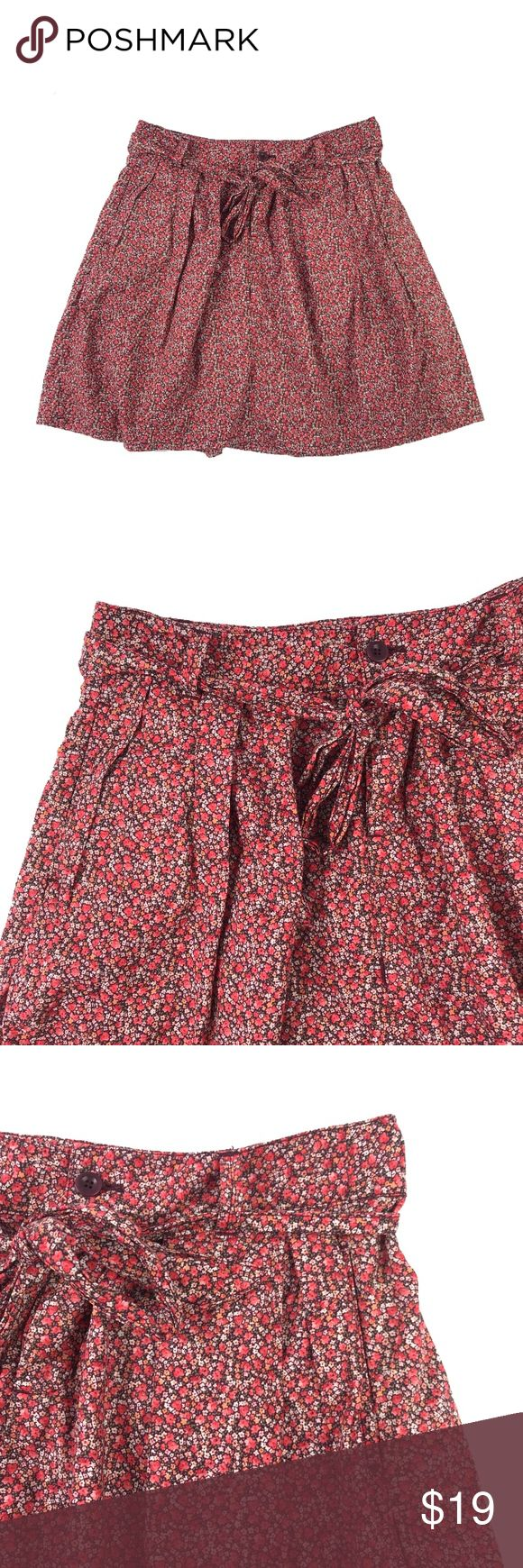 """GAP Bright Floral Waist-Tie Bow Belt Lined Skirt Excellent condition, no flaws. Bow-tie belt at waist.   Size: 0 Materials: shell and lining - 100% cotton  Waist, across waistband, doubled: 29"""" Hip, 6-8"""" below waistband, doubled: 36"""" Length, waist to hem: 17.5"""" GAP Skirts A-Line or Full"""