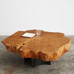 English elm flare coffee table #UrbanHardwoods #SalvagedWood UrbanHardwoods.com
