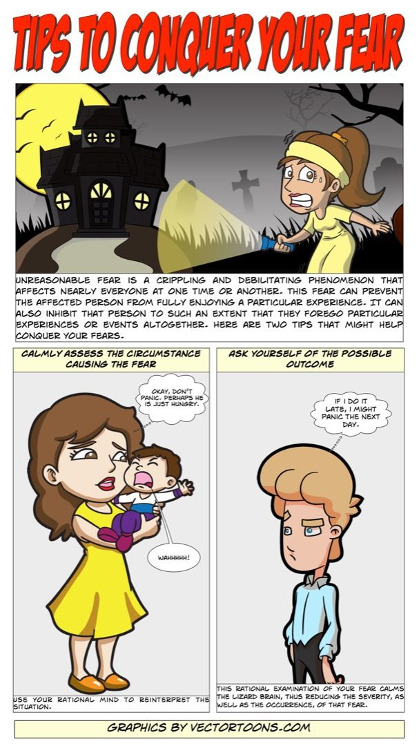 Tips To Conquer Your Fear #comic #cartoon #article #clipart