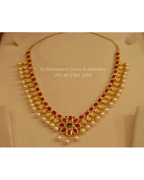 Ruby South Sea Pearls Short Necklace