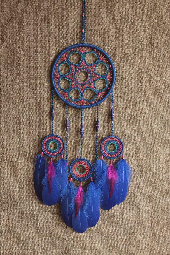 Dream catcher/Large dreamcatcher/Electric blue/Boho/Gypsy style/Dreamcatcher gift