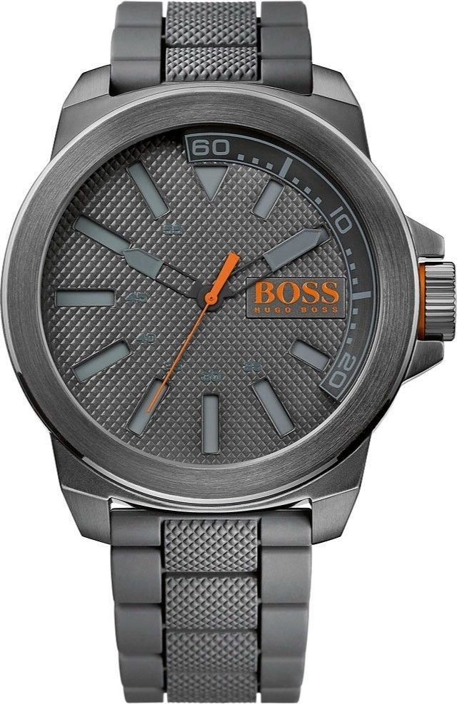 Stort og maskulint Hugo Boss ur i gunmetal stål med silikonerem - Hugo Boss Orange New York 1513005
