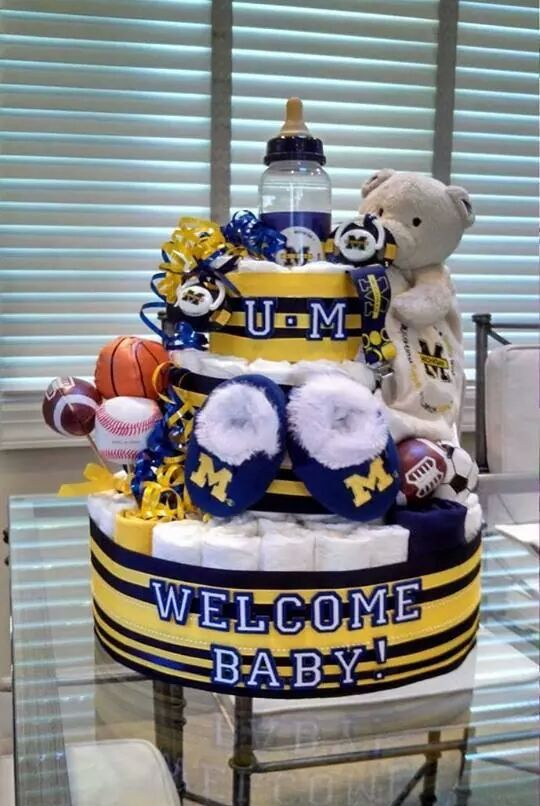 Sports Diaper Cake 3 Tier Themed by StefsSimpleSplendors on Etsy