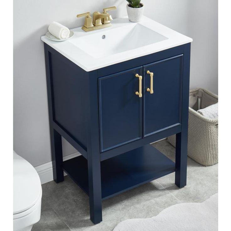 Allen Roth Presnell 24 In Navy Blue Single Sink Bathroom Vanity With White Porcelain Top Lowes Com Single Sink Bathroom Vanity Bathroom Vanity Combo Bathroom Vanity