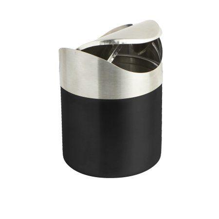 Mind Reader Stainless Steel Desktop Trash Collector, Black