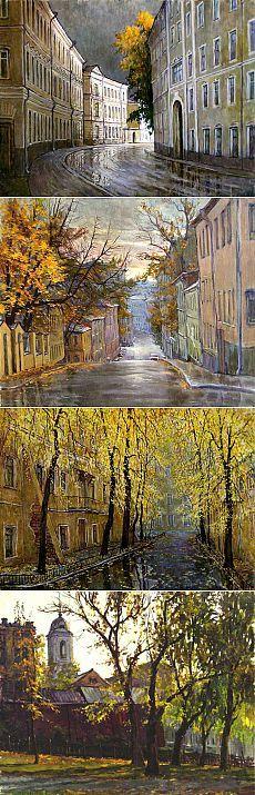 Осенне-дождливые московские улицы и дворики. Художник Владимир Качанов