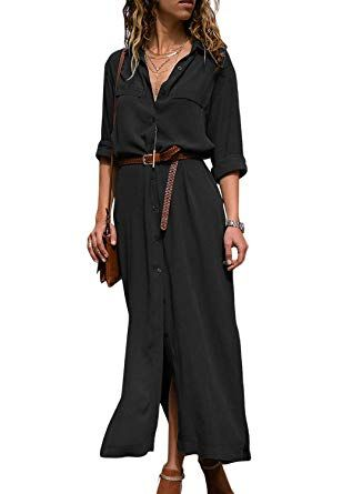 a13d153c12 HOTAPEI Women's Long Sleeve Button Down Collar Sexy Black Chiffon Party Long  Maxi Cardigan Boyfriend Shirt Dresses with Belted,Small