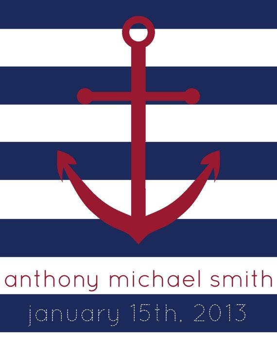 Printable Nautical Birth Announcement Nursery Art