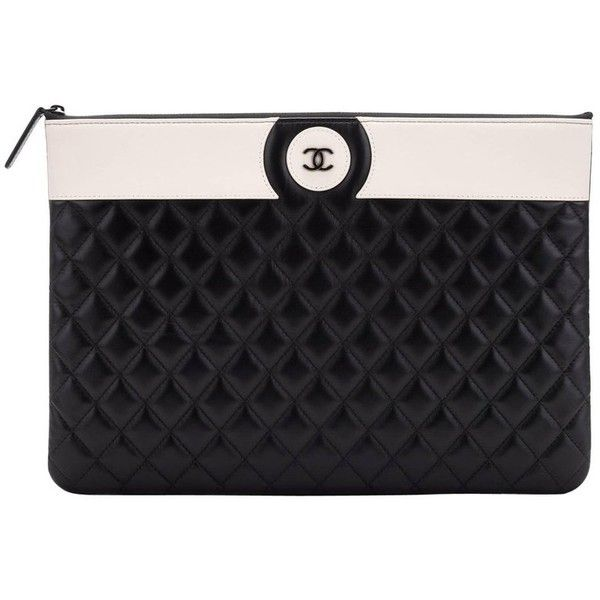 Preowned New Chanel Black White Large Clutch Bag (755 KWD) ❤ liked on Polyvore featuring bags, handbags, clutches, white, quilted handbags, white clutches, quilted purses, chanel pochette and black white handbag