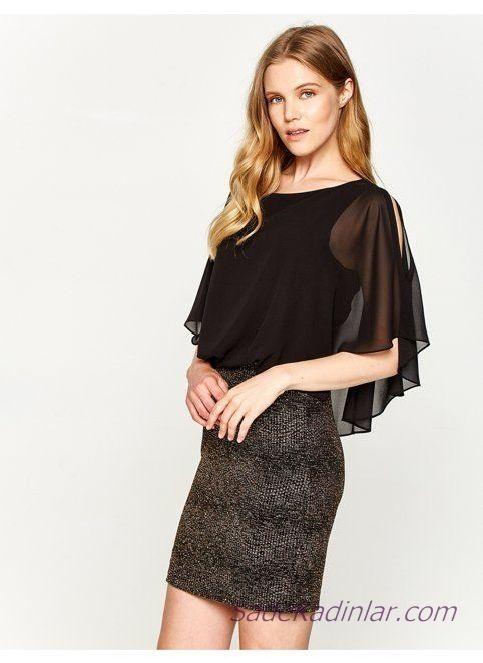 Koton Elbise Modelleri Kahve Kisa Genis Yaka Transparan Kol Detayli Simli Kumas Elbise Modelleri Elbise Mini Elbiseler