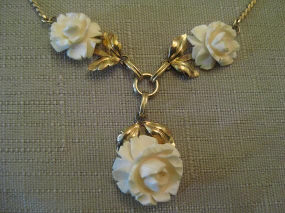 Van Dell 1 20 12k Gold Filled Necklace Carved Bone Rose 1 20 Gold Fill Necklace Vintage Necklace Necklace Lengths