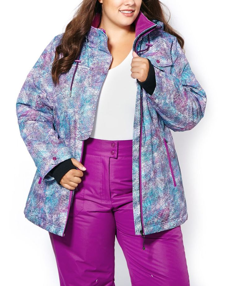 Stay protected to the max with multi-faceted features! Warmest for the coldest days, this plus-size activewear ski jacket features:<br /><br />- Removable hood with drawstring<br />- Long sleeves with storm cuffs<br />- Zipper closure with half front placket<br />- Multiple pockets including inner pockets with multimedia details<br />- Reflective tape<br />- Interior powder skirt<br />- Armhole vent<br ...