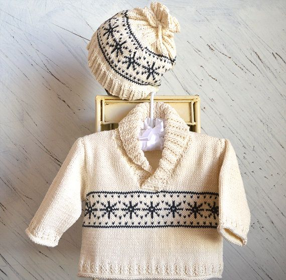 Knitting pattern for Baby snowflake sweater with matching hat (affiliate link)