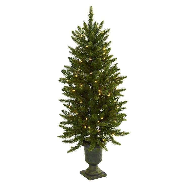 nearly natural 4-ft. Potted Pre-Lit Artificial Christmas Tree - Indoor, Green