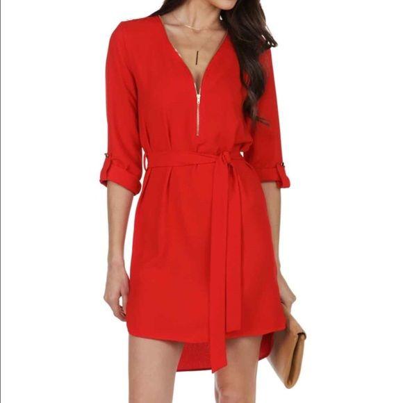 Windsor red zip up dress small New w tags. Bright red gorgeous zip up dress in size small. WINDSOR Dresses Mini