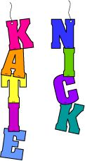 Colorful name mobiles will make quite an impression when your students enter your classroom at the beginning of the year. To make the mobiles, die-cut colorful construction paper letters for each student's name. Staple the letters of each name together vertically, punch a hole near the top of the first letter, add string, and hang the name from your classroom ceiling.