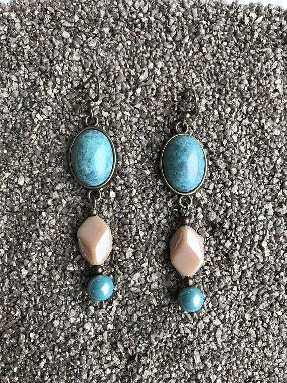 Dangle Crochet d/'oreille Clous Pierre Naturelle Eardrop Turquoise Dangle Boucles d/'oreilles Gemstone