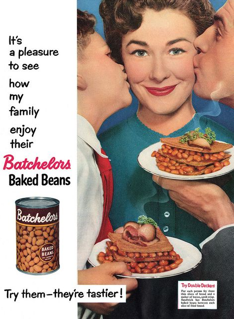 ... Mom baked her own beans every Saturday! 1955 Batchelors Baked Beans ad