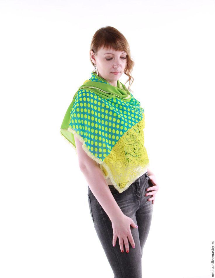 """Купить Авторский Палантин """" Зеленый горошек"""" - шарф, шарф женский, шарфик, легкий шарфик"""