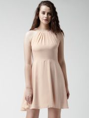 New Look Peach-Coloured Fit & Flare Dress