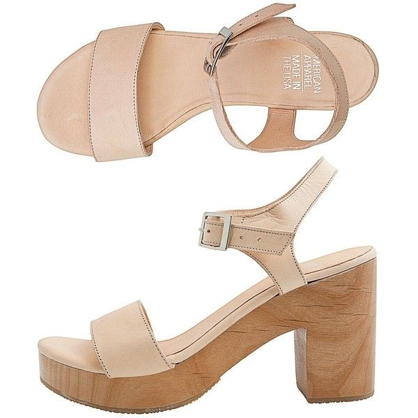 American Apparel Wooden Heel Sandal ($96) ❤ liked on Polyvore featuring shoes, sandals, heels, platform shoes, heeled sandals, american apparel, wooden heel platform sandals and wooden heel platform shoes
