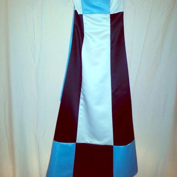 NWOT-Block pattern formal dress Blue, white, and black geometric block dress.  Satin. Smoke free home. Size 4 Dresses Prom