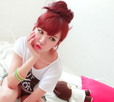 japanese bangs on black girls | straight, red style with bangs, in a bun.