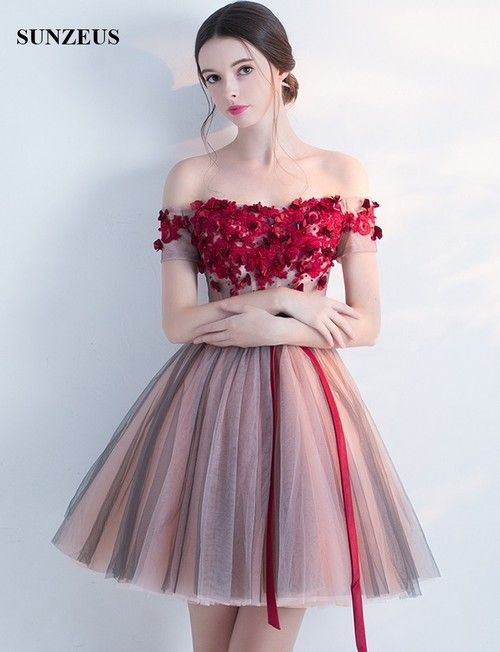 40b2309629d9 New Arrival Prom Party Dresses 2017 Short Tutu Skirt Puffy Tulle Bateau Off  Shoulder Homecoming Dresses Red Appliques Flowers Summer Dress Modest Prom  ...