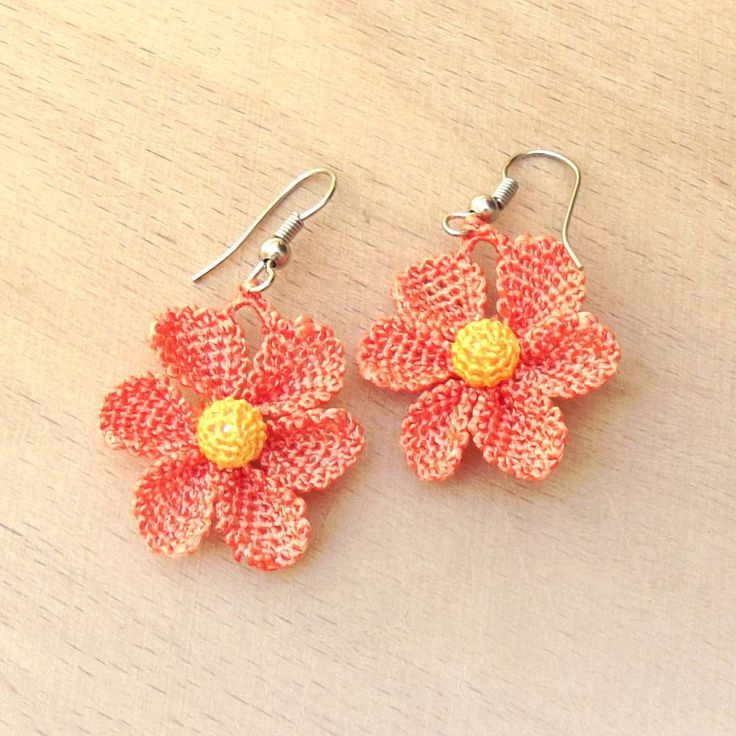 Turkish OYA Lace - Earring - Daisy- Orange by DaisyCappadocia on Etsy