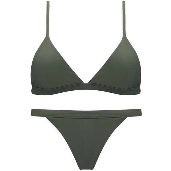Jaci.Vela Women's Fashion Bikini Set Solid Color Two Piece... ($24) ❤ liked on Polyvore featuring swimwear, bikinis, bathing suits bikini, 2 piece bikini, army green bikini, 2 piece swimsuits and swimsuits bikinis   at 90% wholesale price
