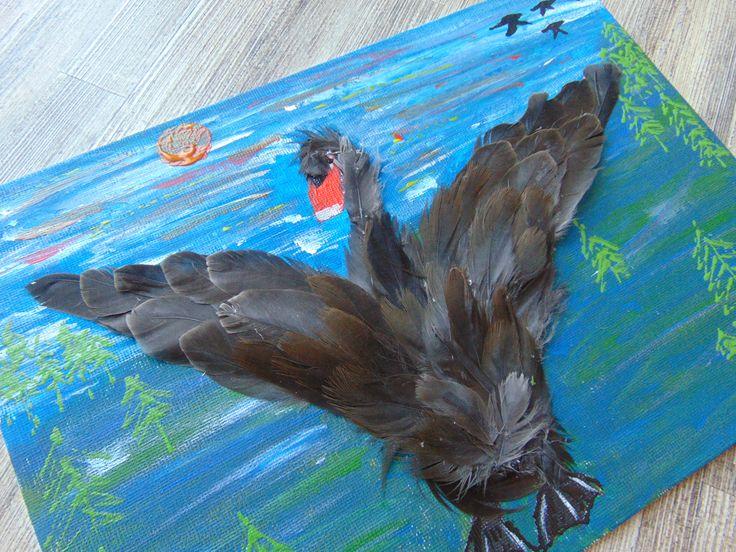 """Tablou """"Lebada neagra"""" realizat cu pene naturale  https://www.facebook.com/Handmade4UbyIulia/photos/pb.556861601094912.-2207520000.1453906424./847245795389823/?type=3&theater"""