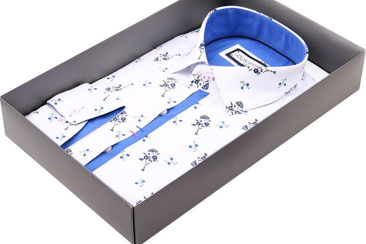 Купить Белая приталенная рубашка Louis Fabel в цветочек недорого в Москве