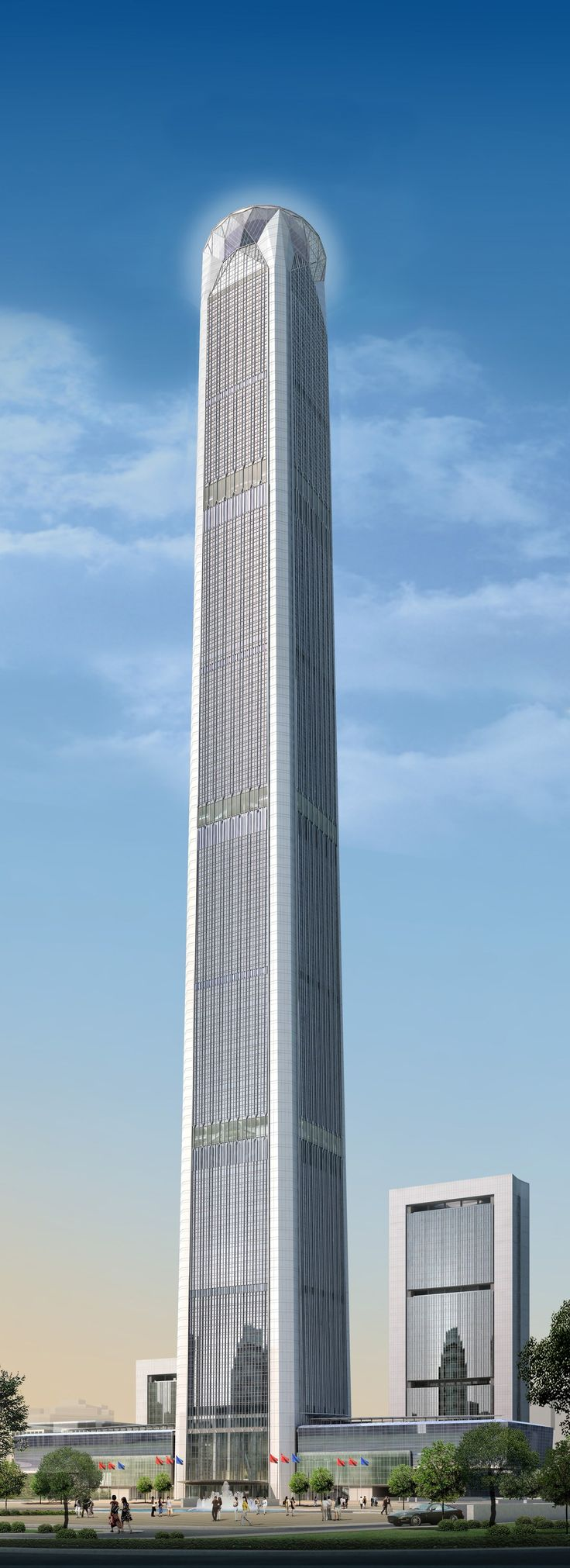 Located in Tianjin, China, the Goldin Finance 117 will tower some 1,959 feet in the sky when it's completed in 2016. Designed by the Hong Kong–based firm P&T Architects and Engineers Ltd., the building will include 117 floors above the ground, while four floors will be below ground.