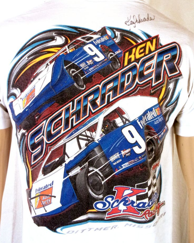 Ken Schrader Dittmer MO Racing T-Shirt SIGNED federated parts AUTOGRAPH S/M